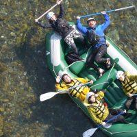 ラフティングボート俯瞰の写真